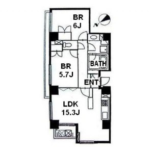 2LDK Apartment Floorplan