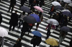 Wet Japan Busy Osaka People Rainy Umbrella